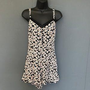 Topshop Floral Lace Button Romper - US 8 Medium